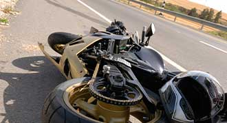 Motorcycle damaged on the side of a Pawtucket RI roadway