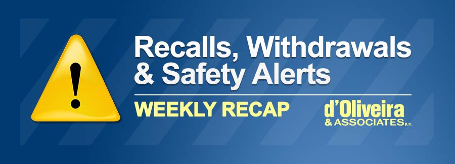 Weekly Recap of Recalls, Withdrawals & Safety Alerts: June 18 – 24, 2018