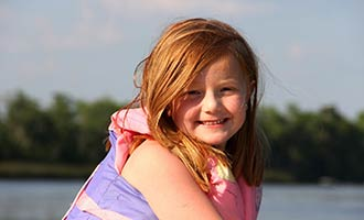 young girl in lifejacket