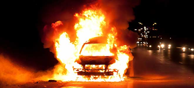 Electric Car on fire
