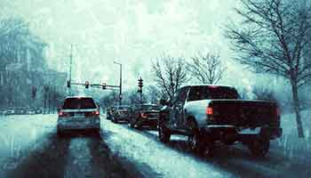 Traffic on Snow Covered Roads