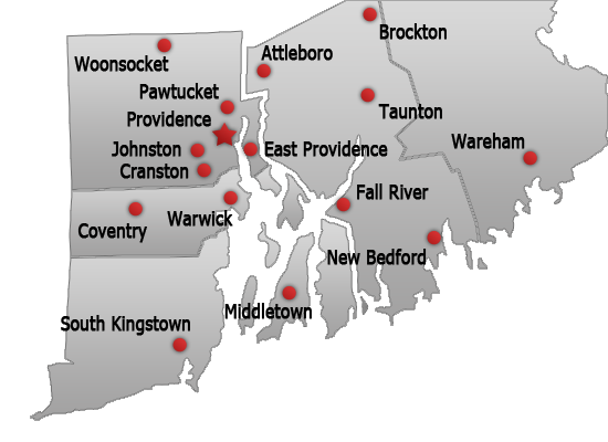 Map of all sixteen office locations for personal injury lawyer d'Oliveira & Associates